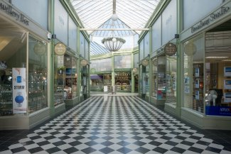 The historic Arcade shopping precinct in Letchworth