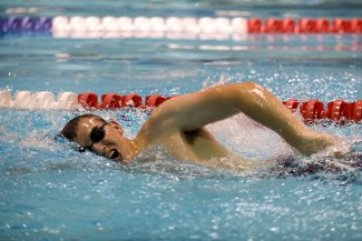 Swimmer in lane swimming