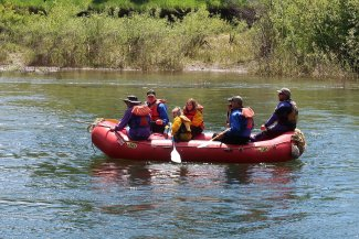 Group of scouts rafting