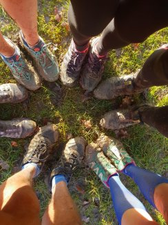 Muddy trainers after a morning run