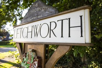 Sign to help people find their way to Letchworth