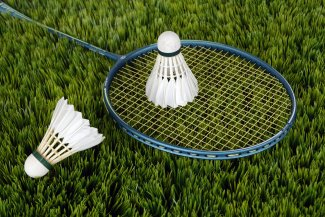 Badminton racket and shuttlecocks lie on the grass