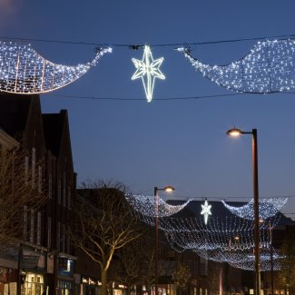 Christmas Lights on down Leys Avenue