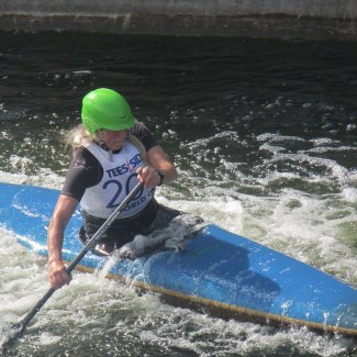 Canoeist on the slalom
