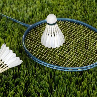 Badminton rackets on grass