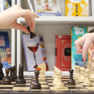 Chess being played in a library