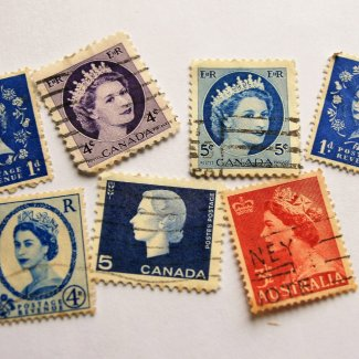 collection of stamps featuring Queen Elizabeth II