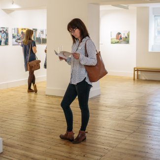 Person viewing Broadway gallery exhibition
